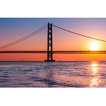 明石海峡大橋の夕日150